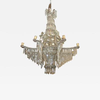 Maison Bagu s Large Gilt Bagues Crystal Chandelier