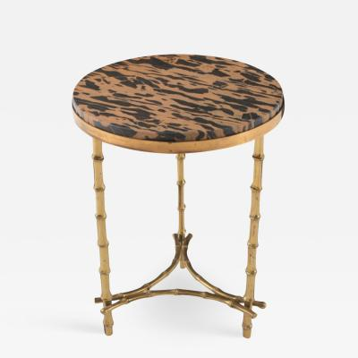 Maison Bagu s Maison Bagu s Hollywood Regency Brass Marble Side Table 1970s