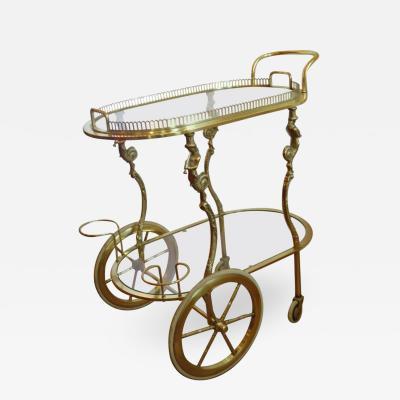 Maison Bagu s Maison Bagu s Rare Brass Bar Cart circa 1930s