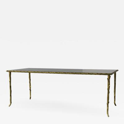 Maison Bagu s Maison Bague s Rare Bronze Table with an antique mirror top