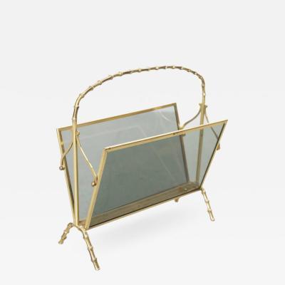 Maison Bagu s Maison Bagues Brass and Glass Faux Bamboo Magazine Rack