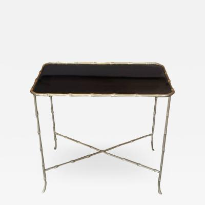 Maison Bagu s Maison Bagues Bronze Bamboo and Black Glass Side Table France c 1930s