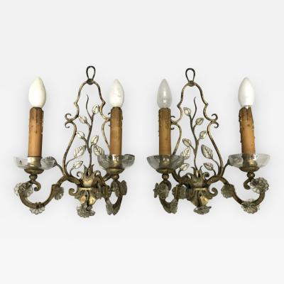 Maison Bagu s Maison Bagues Genuine Refined Gold Leaf Pair of Sconces