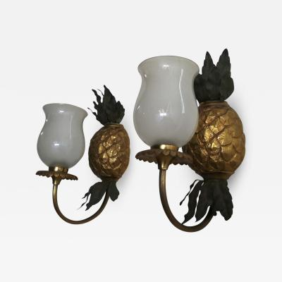 Maison Bagu s Maison Bagues Gold Bronze Pineapple Pair of Sconces