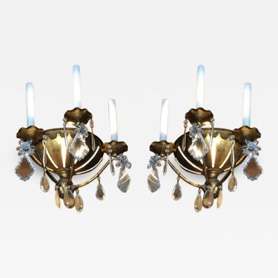 Maison Bagu s Maison Bagues early pair of gold leaf iron and pearl sconces