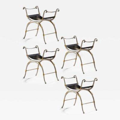Maison Bagu s Maison Bagues exceptional set of 4 silver gold leather stools