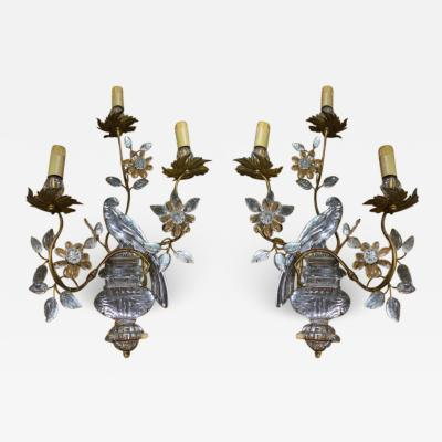 Maison Bagu s Maison Bagues pair of parrot sconces