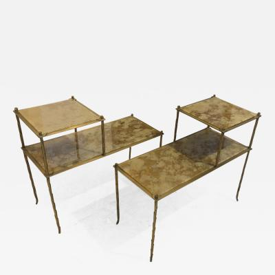 Maison Bagu s Maison Bagues superb gold bronze 2 tier side tables with eglomise mirror top