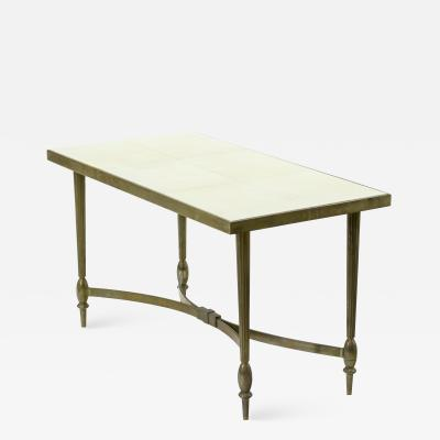 Maison Bagu s Maison Bagues superb gold bronze coffee table with parchment top