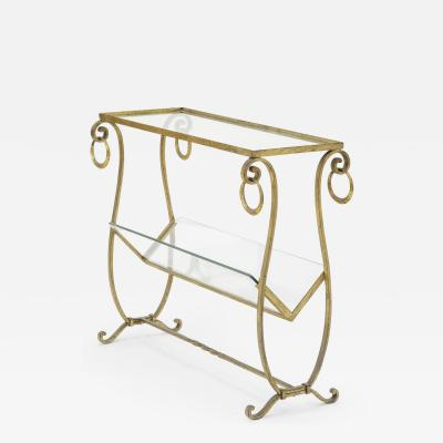 Maison Bagu s Maison bagues early gold leaf wrought iron 2 tier side table with magazine rack