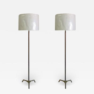 Maison Bagu s Pair French Mid Century Bronze Fluted Faux Bamboo Floor Lamps by Maison Bagu s
