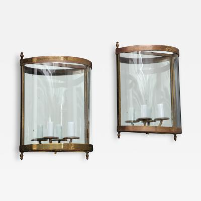 Maison Bagu s Pair of Brass Mirror and Glass Neoclassical Sconces France 1960s