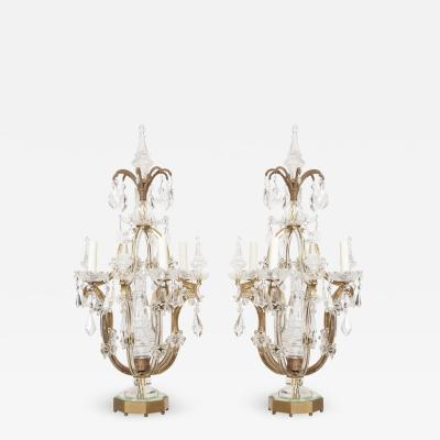 Maison Bagu s Pair of Crystal Girandoles Attributed to Bagu s