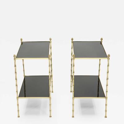 Maison Bagu s Pair of French Maison Bagu s bamboo brass black top two tier end tables 1960s
