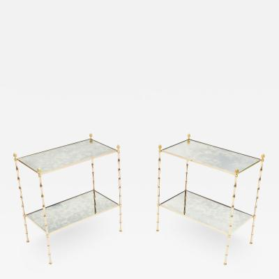 Maison Bagu s Pair of French Maison Bagu s brass mirrored end tables 1960s