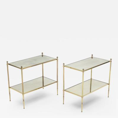 Maison Bagu s Pair of French Maison Bagues brass mirrored two tier end tables 1950s