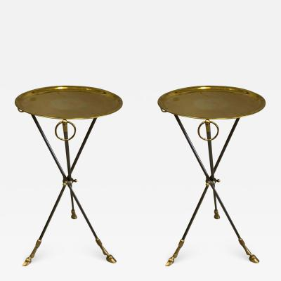 Maison Bagu s Pair of French Mid Century Modern Steel and Brass Side Tables by Maison Bagu s