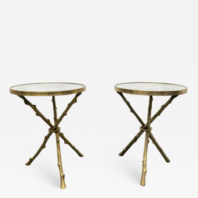 Maison Bagu s Pair of Maison Bagu s Style Bronze and Carrara Marble Top Tables
