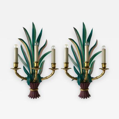 Maison Bagu s Pair of Sconces Bamboo Palm Bronze by Maison Bagues France 1970s