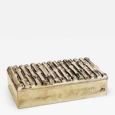 Maison Bagu s Petite Silver Plated Faux Bamboo Container in the style of Bagu s France 1960s