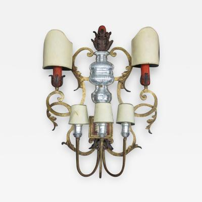 Maison Bagu s Rare Large French Gilt Iron Bronze and Crystal Wall Sconce by Maison Bagu s