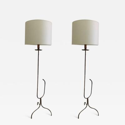 Maison Bagu s Rare Pair of Gilt Faux Bamboo Floor Lamps by Maison Bagu s