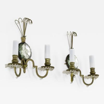 Maison Bagu s maison bagues gold bronze pearled pair of sconces with crystal center