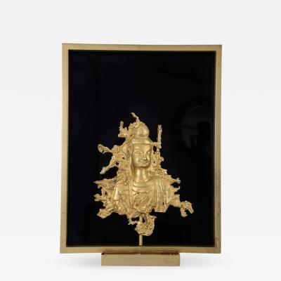 Maison Gu rin Rare Sconce with a Buddha Bronze Figure Maison Guerin Paris circa 1970