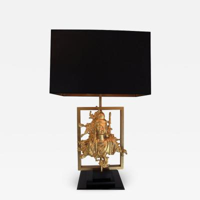Maison Gu rin Rare Table Lamp with a Buddha Bronze Figure Maison Guerin Paris circa 1970