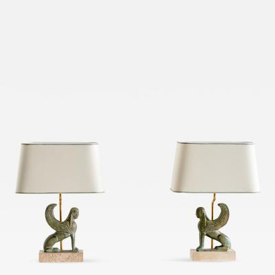 Maison Le Dauphin Pair of Maison Le Dauphin Sphinx Table Lamps France 1970s