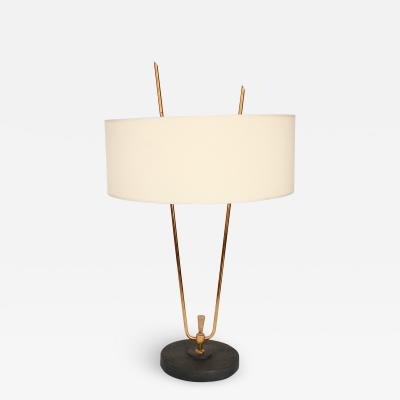 Maison Lunel MAISON LUNEL FRENCH TABLE LAMP BLACK IRON BASE BRASS ARMS AND DETAILS CIRCA 1950