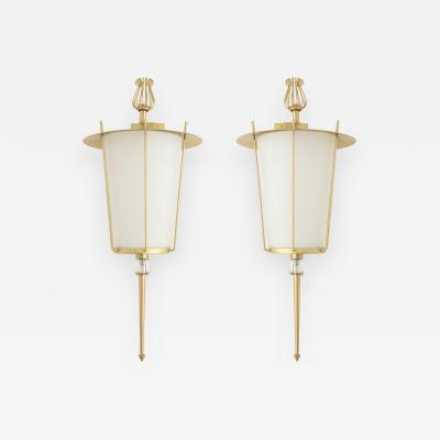 Maison Lunel Maison Lunel Brass Lantern Sconces