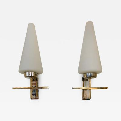 Maison Lunel Pair of French 1970s Lunel Wall Lights