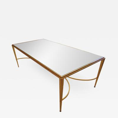 Maison Raphael A French Modern Gilt Iron and Glass Coffee Low Table