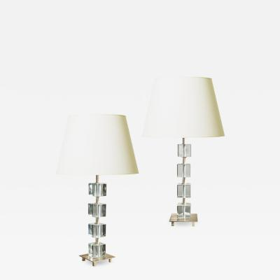 Malm metallvarufabrik AB Elegant Pair of Silvered Crystal Lamps by Malmo Metallvarufabrik