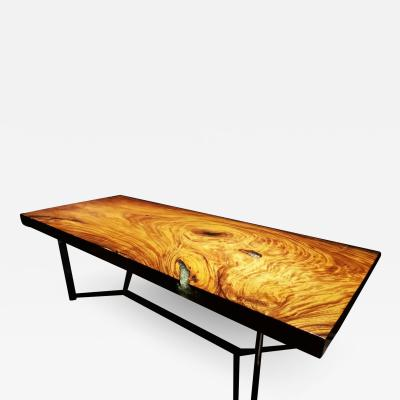 Mandara Furniture 2 50M SQUARE CUT CRYSTAL GLASS HAND CRAFTED ACACIA DINING TABLE