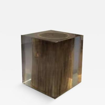 Mandara Furniture AMERICAN BLACK WALNUT LOG STOOL ENCASED IN CRYSTAL CLEAR RESIN