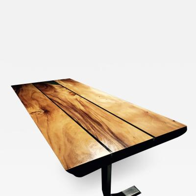 Mandara Furniture PLANKTOP GLOSS RESIN FEATURE JOIN STAINLESS STEEL LEG