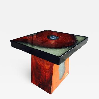 Mandara Furniture SIDE TABLE WITH AGATE STONE AND SMASHED CRYSTAL GLASS