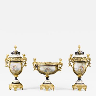 Manufacture Nationale de S vres Sevres Porcelain A Napol on III S vres Style Garniture Set