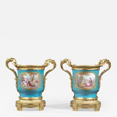 Manufacture Nationale de S vres Sevres Porcelain A Pair of Louis XVI Style Jardini res