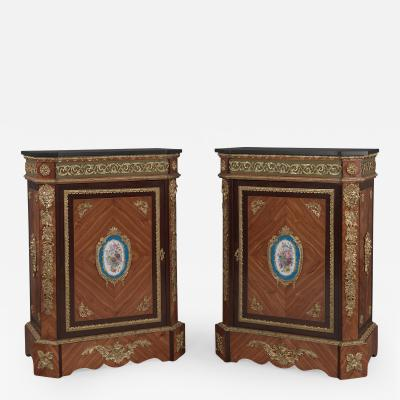 Manufacture Nationale de S vres Sevres Porcelain A Pair of Walnut Side Cabinets