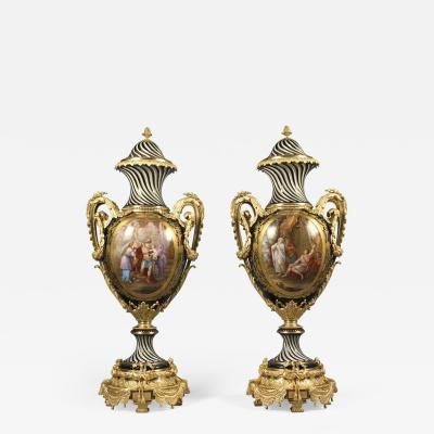 Manufacture Nationale de S vres Sevres Porcelain Pair of S vres Style Porcelain Vases and Covers