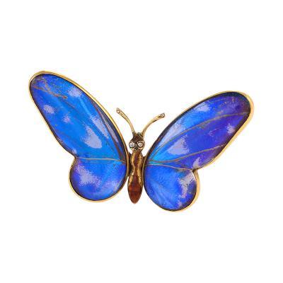 Mappin Webb Antique Mappin Webb London Diamond Feather Enamel and Gold Butterfly Brooch