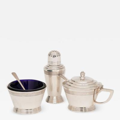 Mappin Webb British Art Deco Silver Plate Cruet Set by Keith Murray for Mappin Webb