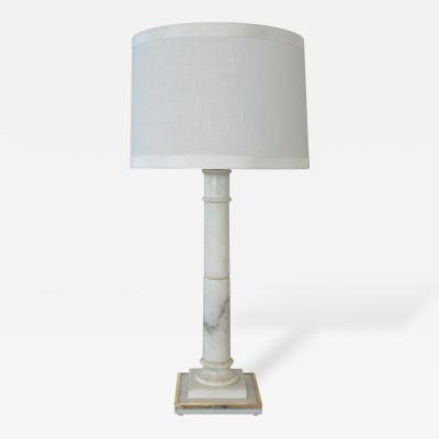Marbro Lamp Company A Sleek Hollywood Regency Marble Columnar Lamp by Marbro Co
