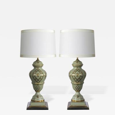 Marbro Lamp Company An Elegant Pair of Marbro Lamp Co Celadon Glazed Lamps