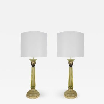 Marbro Lamp Company Celery Green Scavo Murano Glass Lamps