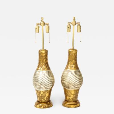 Marbro Lamp Company James Mont Style Gilded Porcelain Lamps