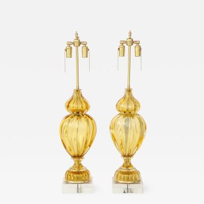 Marbro Lamp Company Marbro Amber Murano Glass Lamps